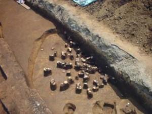 馬場裏遺跡:第5号住居跡遺物出土状況
