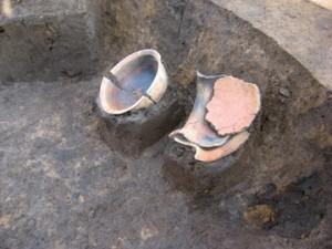 中道・中道下遺跡:壁ぎわで出土した弥生土器