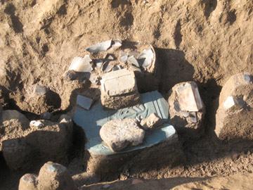 内郷遺跡:3区の溝跡から出土した板碑