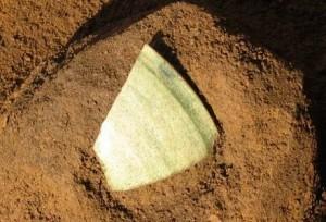 前領家遺跡:第17号住居跡から出土した緑釉陶器