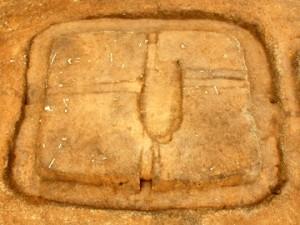 大木戸遺跡第13地点:中央の掘り込みは埋葬施設の跡です