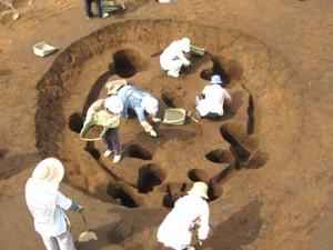 諏訪野遺跡:竪穴住居跡の調査