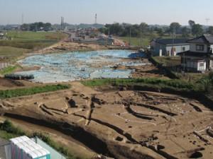 富田後遺跡:住居域の航空写真