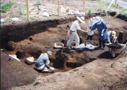 善棚東遺跡:第1・2号古墳跡調査風景